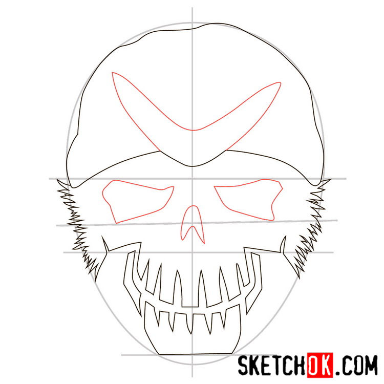 How to draw the logo of Captain Boomerang - step 05