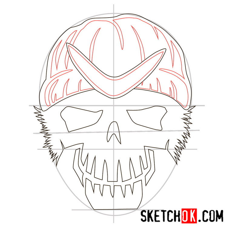 How to draw the logo of Captain Boomerang -  step 06