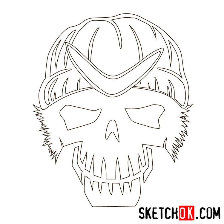 How to draw the logo of Captain Boomerang - step 07