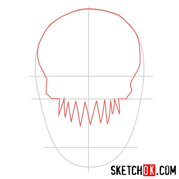 How to draw the logo of Killer Croc - step 02