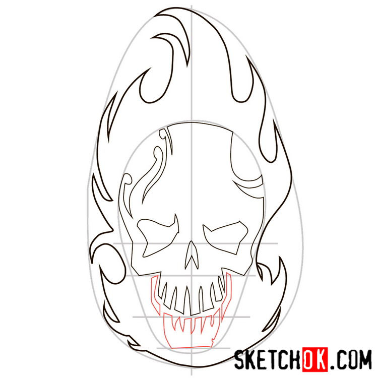 How to draw the logo of El Diablo - step 05