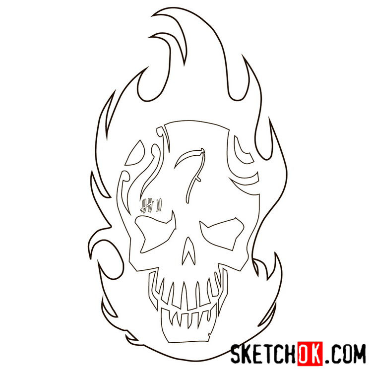 How to draw the logo of El Diablo - step 07