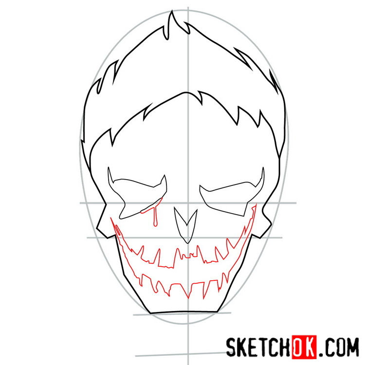 How to draw the logo of Joker - step 05