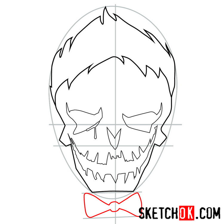 How to draw the logo of Joker - step 06