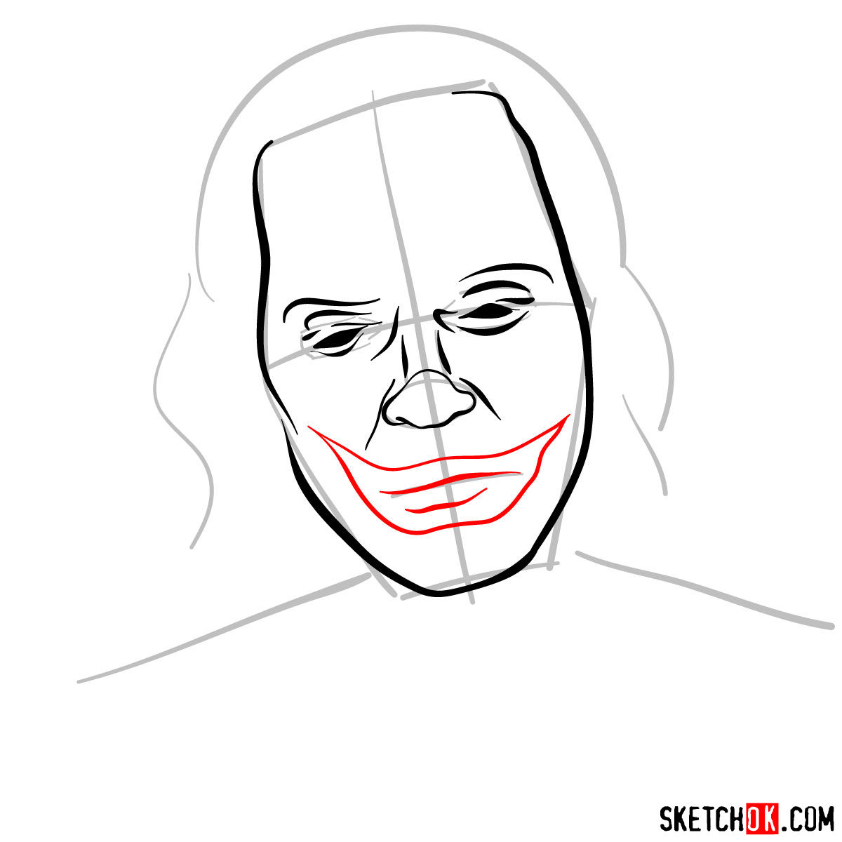 How to draw Joker by Joaquin Phoenix - step 06