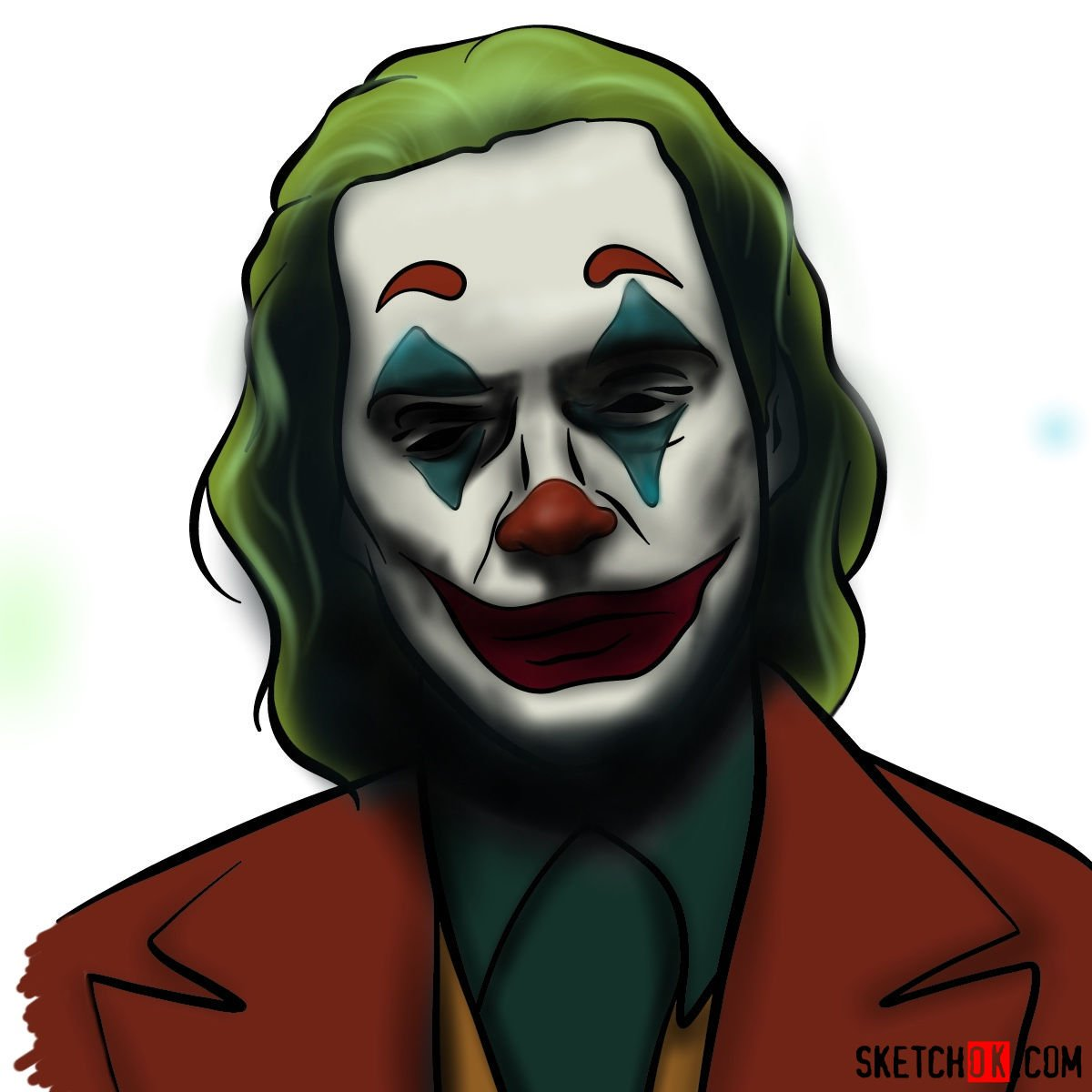 How to draw Joker by Joaquin Phoenix