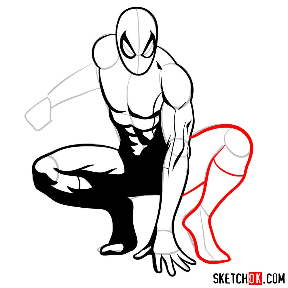 How to draw Spider-Man (Comic style) - step 12