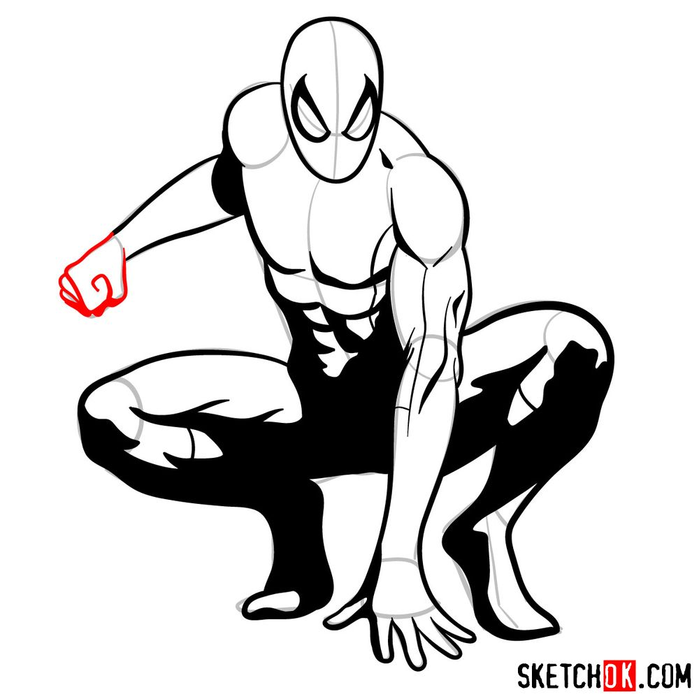 How to draw Spider-Man (Comic style) - step 15