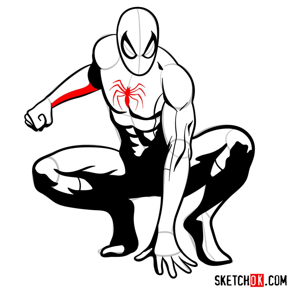 How to draw Spider-Man (Comic style) - step 16