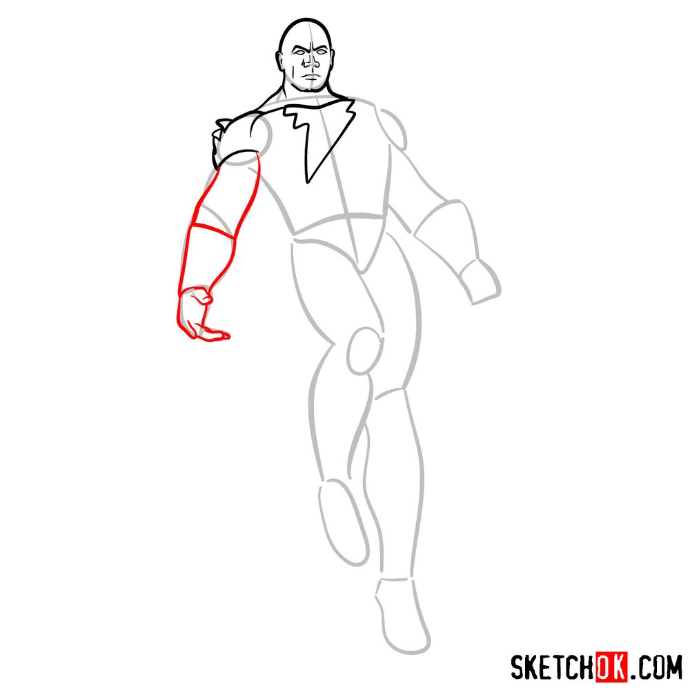 How to draw Black Adam - step 07