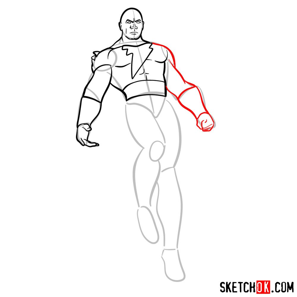 How to draw Black Adam - step 09