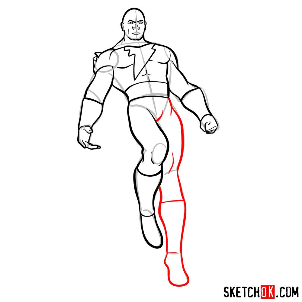 How to draw Black Adam - step 12