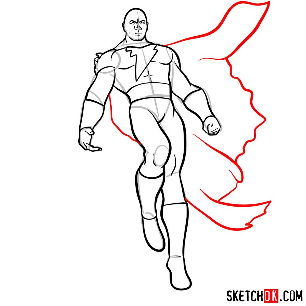 How to draw Black Adam - step 13