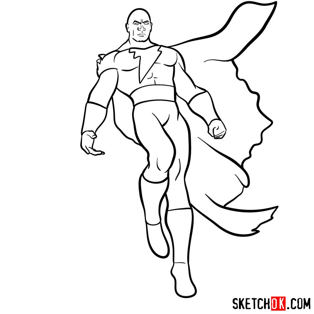How to draw Black Adam - step 14