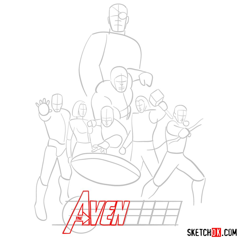 How to draw The Avengers (new) - step 06