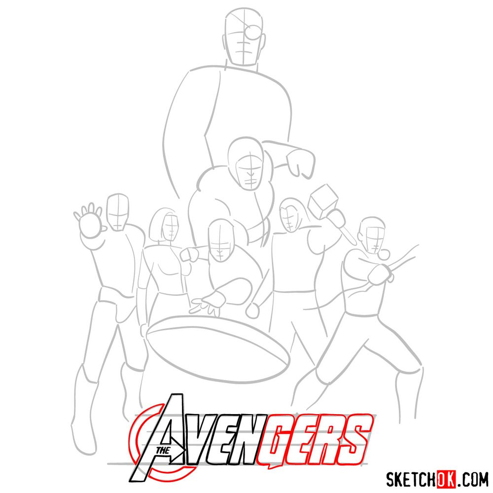 How to draw The Avengers (new) - step 07