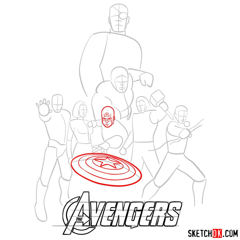How to draw The Avengers (new) - step 08
