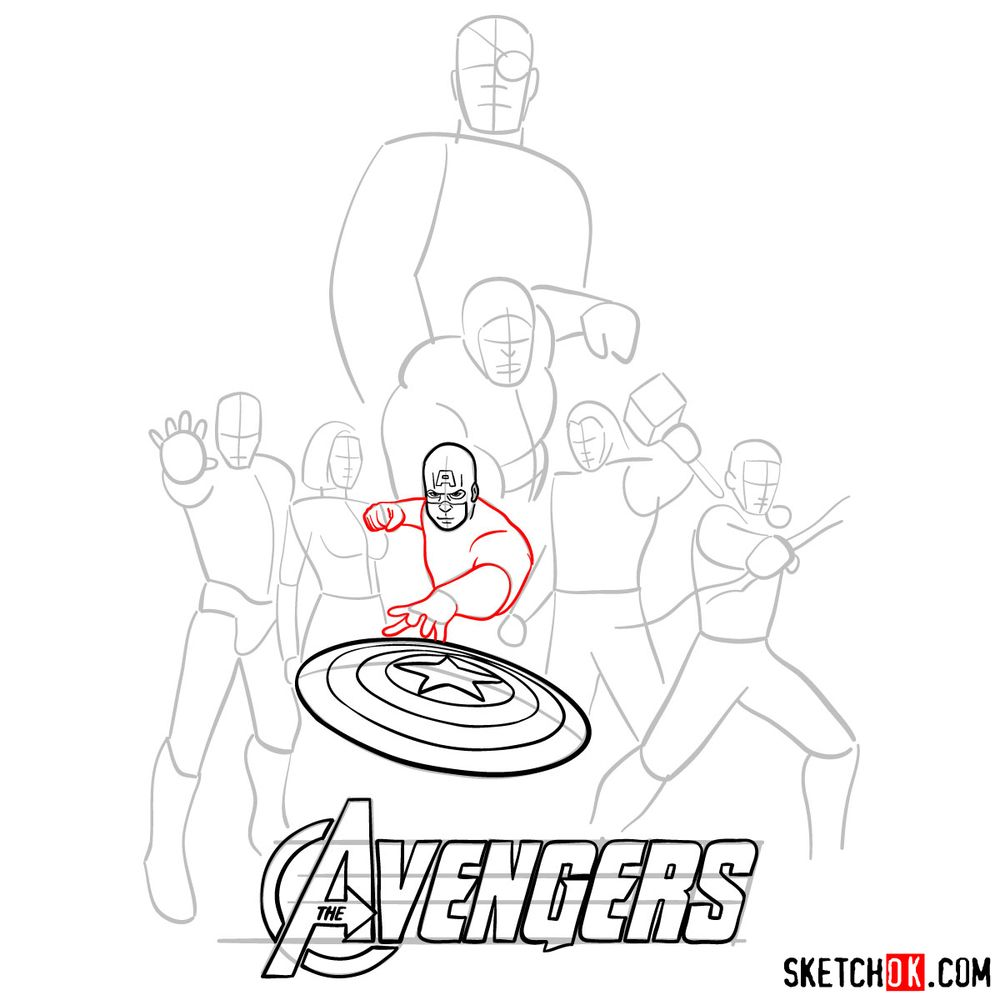 How to draw The Avengers (new) - step 09