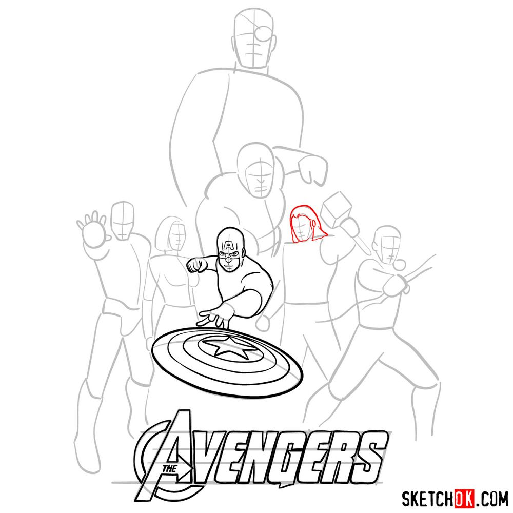 How to draw The Avengers (new) - step 10