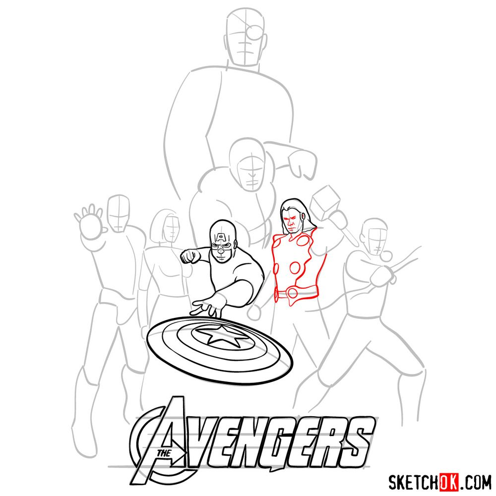 How to draw The Avengers (new) - step 11