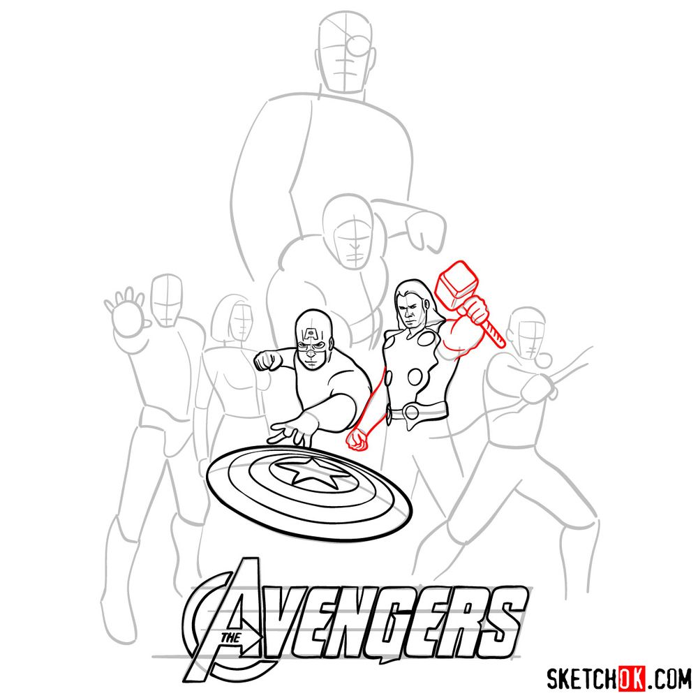How to draw The Avengers (new) - step 12