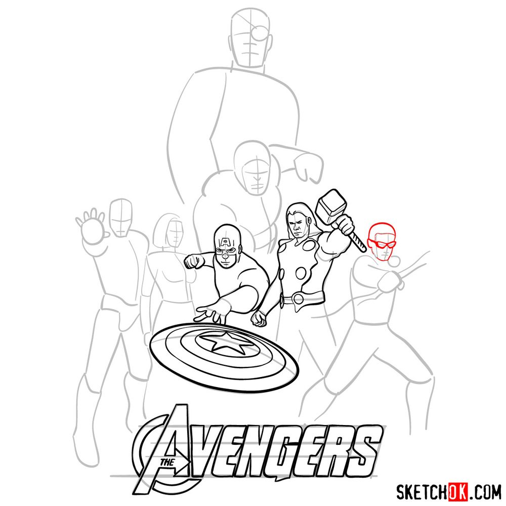 How to draw The Avengers (new) - step 13