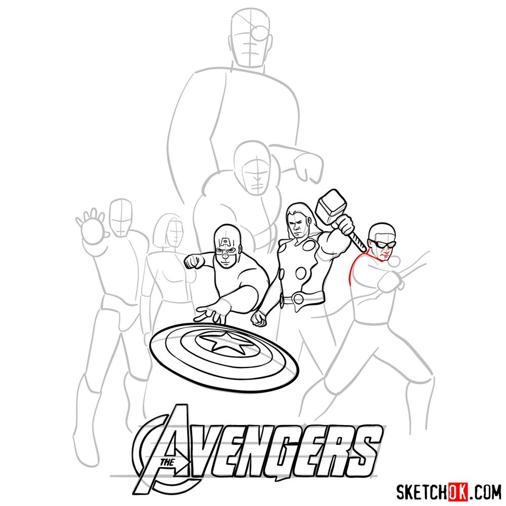 How to draw The Avengers (new) - step 14