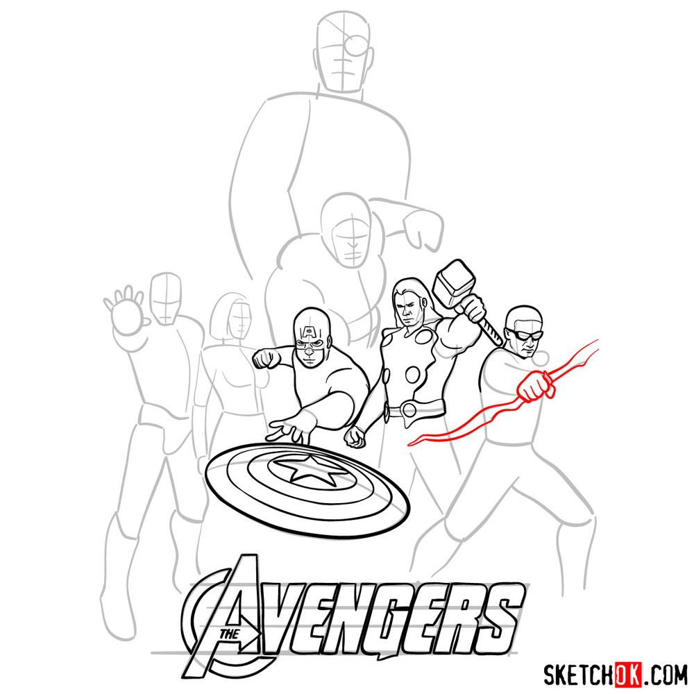 How to draw The Avengers (new) - step 15