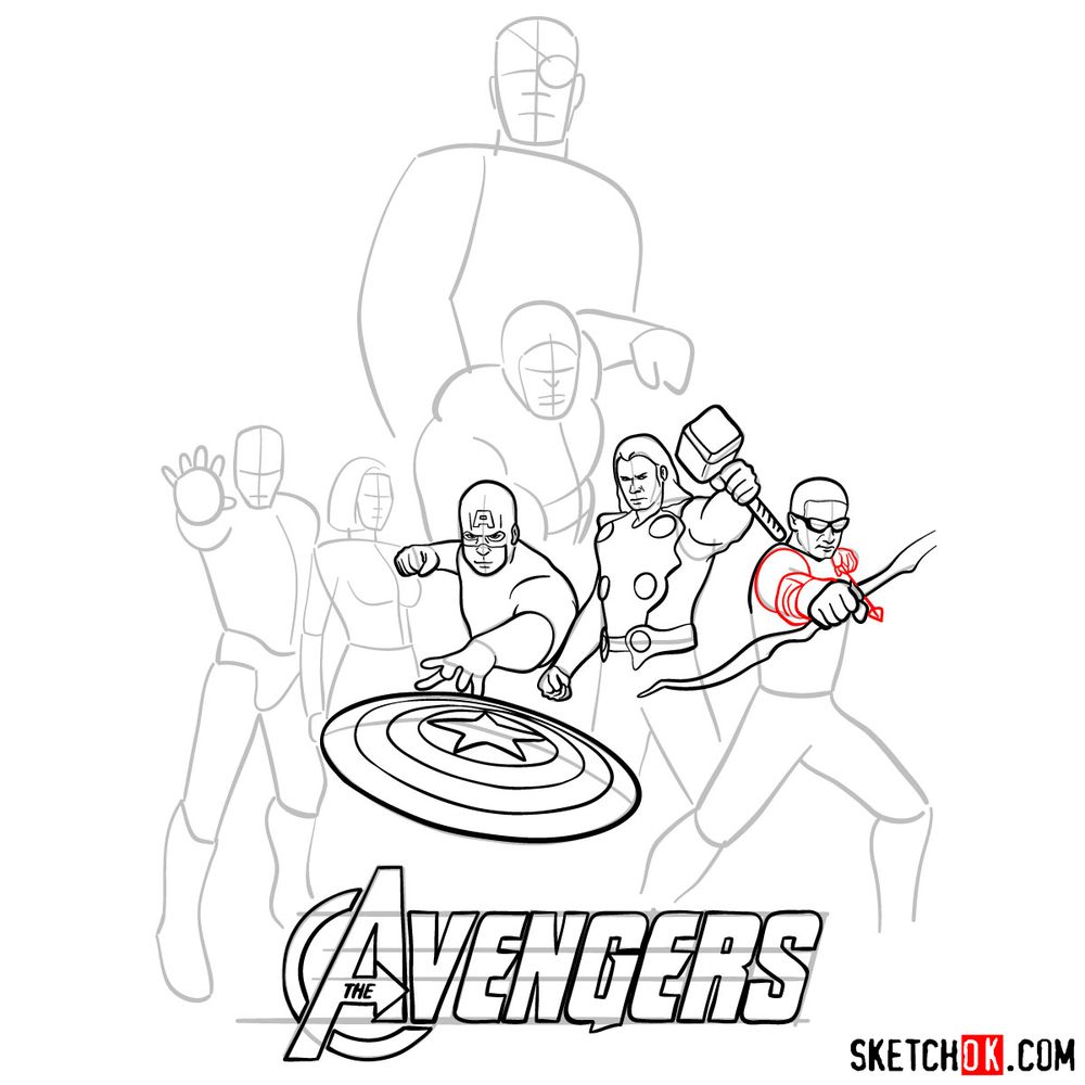 How to draw The Avengers (new) - step 16