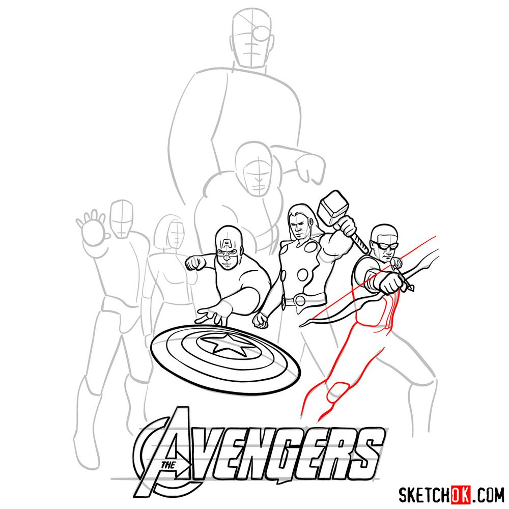 How to draw The Avengers (new) - step 17
