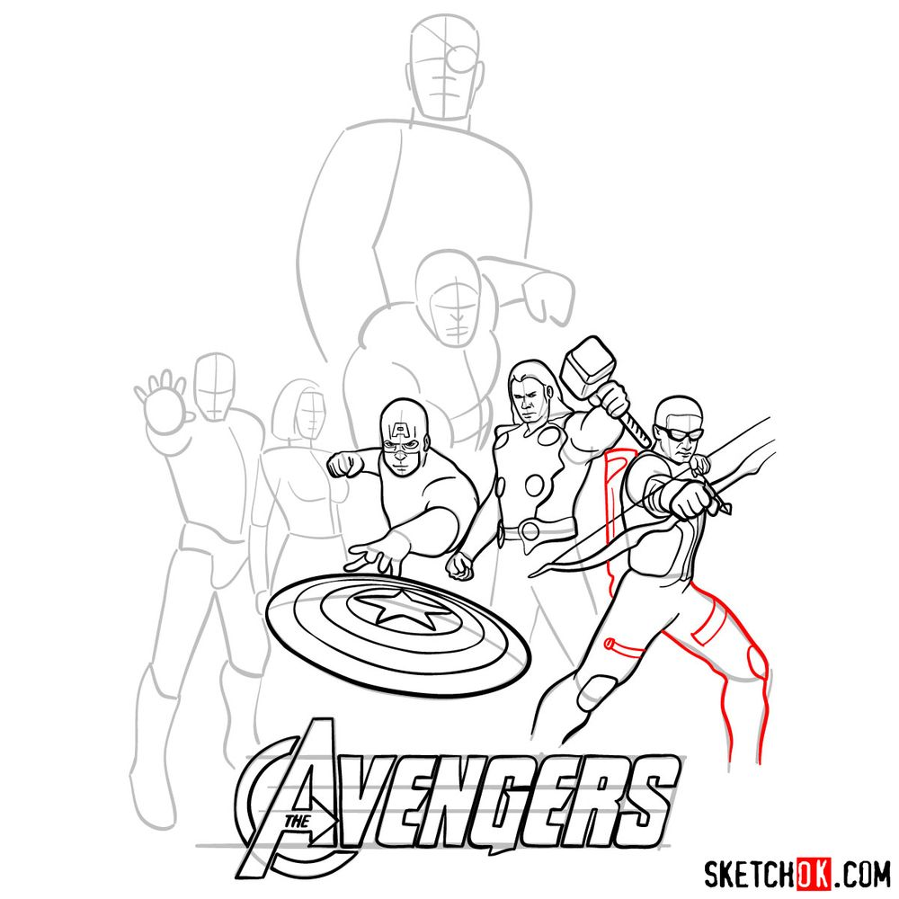 How to draw The Avengers (new) - step 18