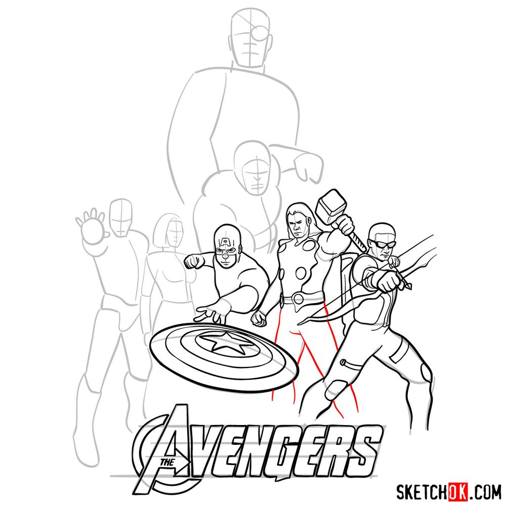 How to draw The Avengers (new) - step 19