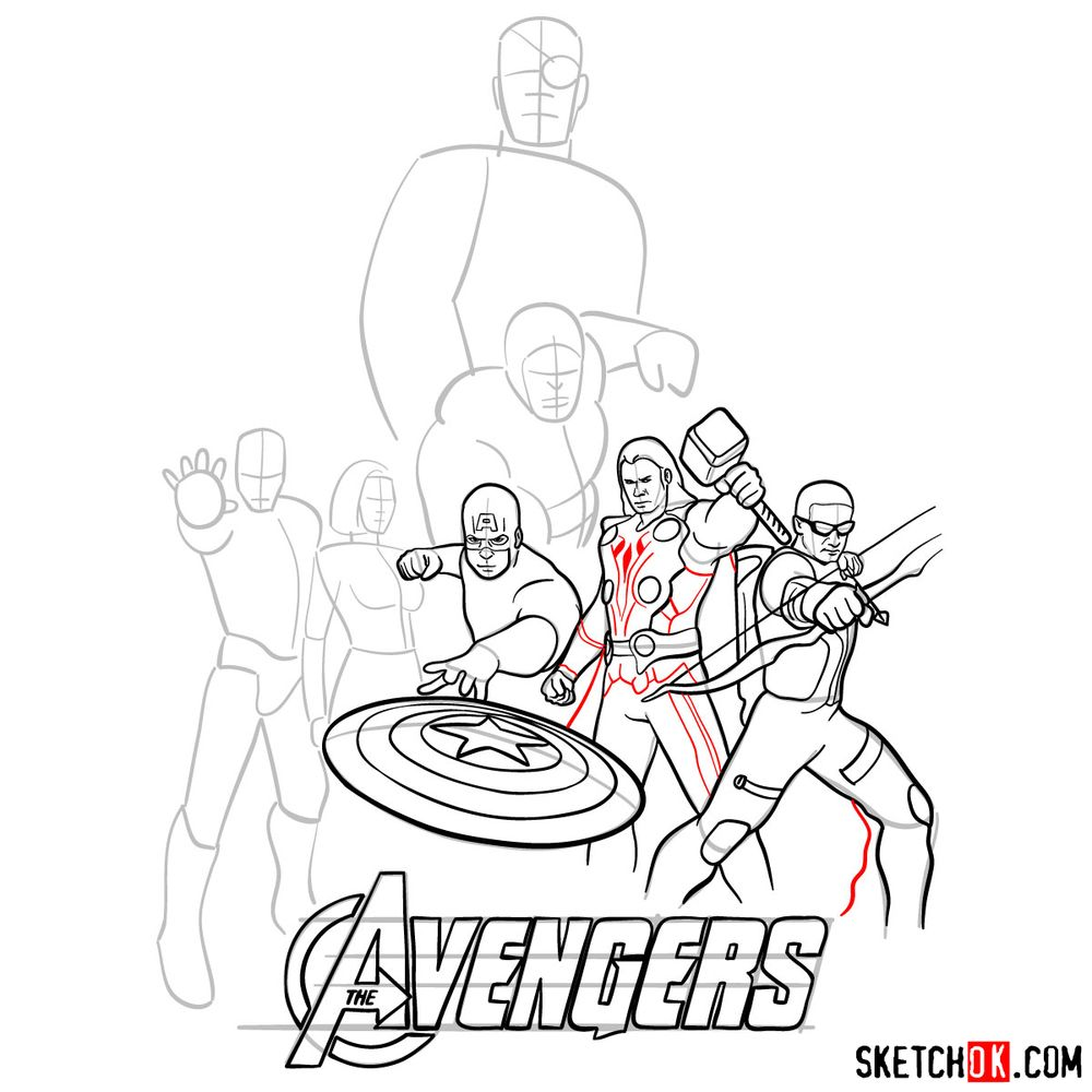 How to draw The Avengers (new) - step 20