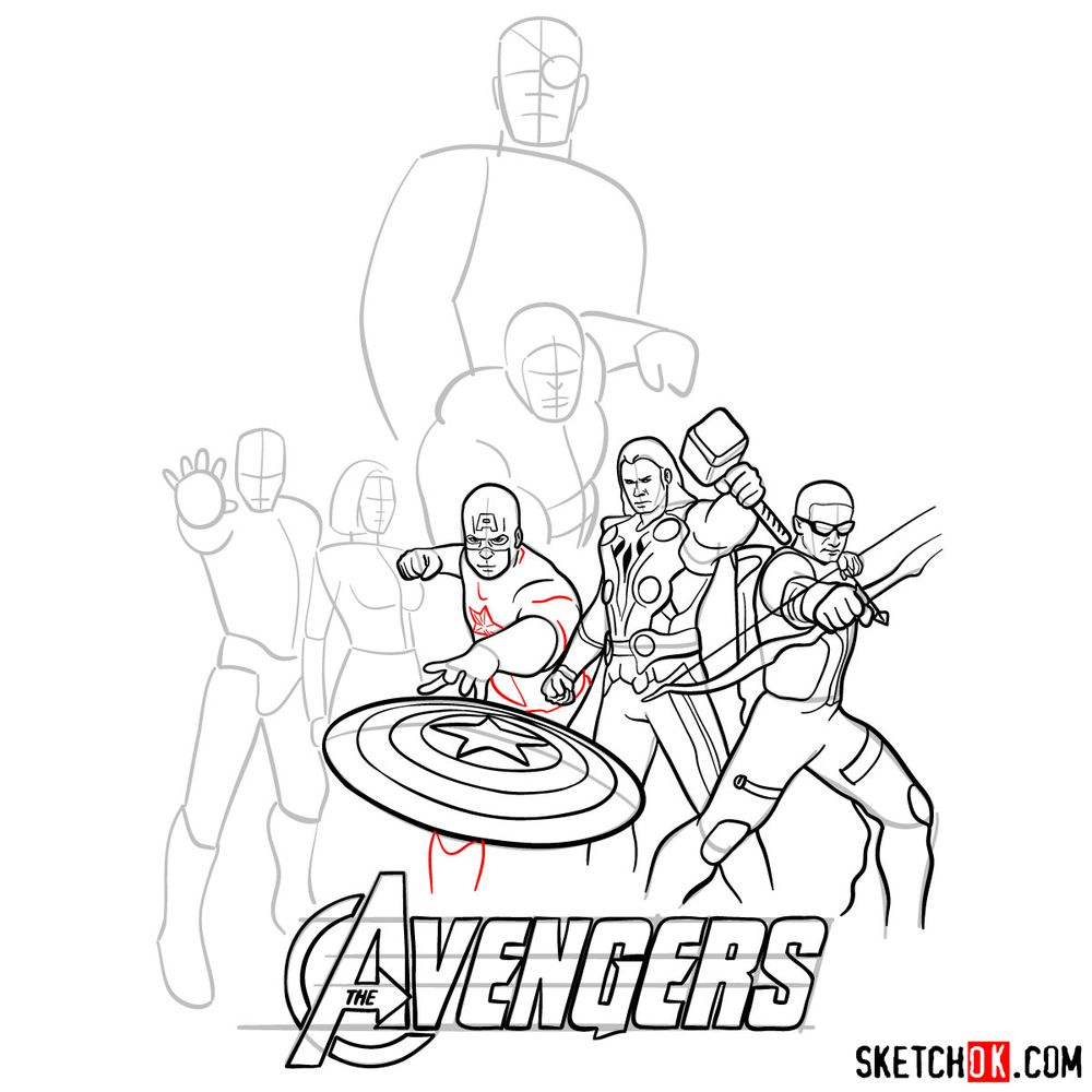 How to draw The Avengers (new) - step 21