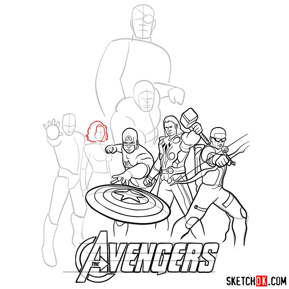 How to draw The Avengers (new) - step 22