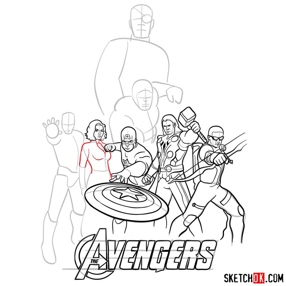 How to draw The Avengers (new) - step 24