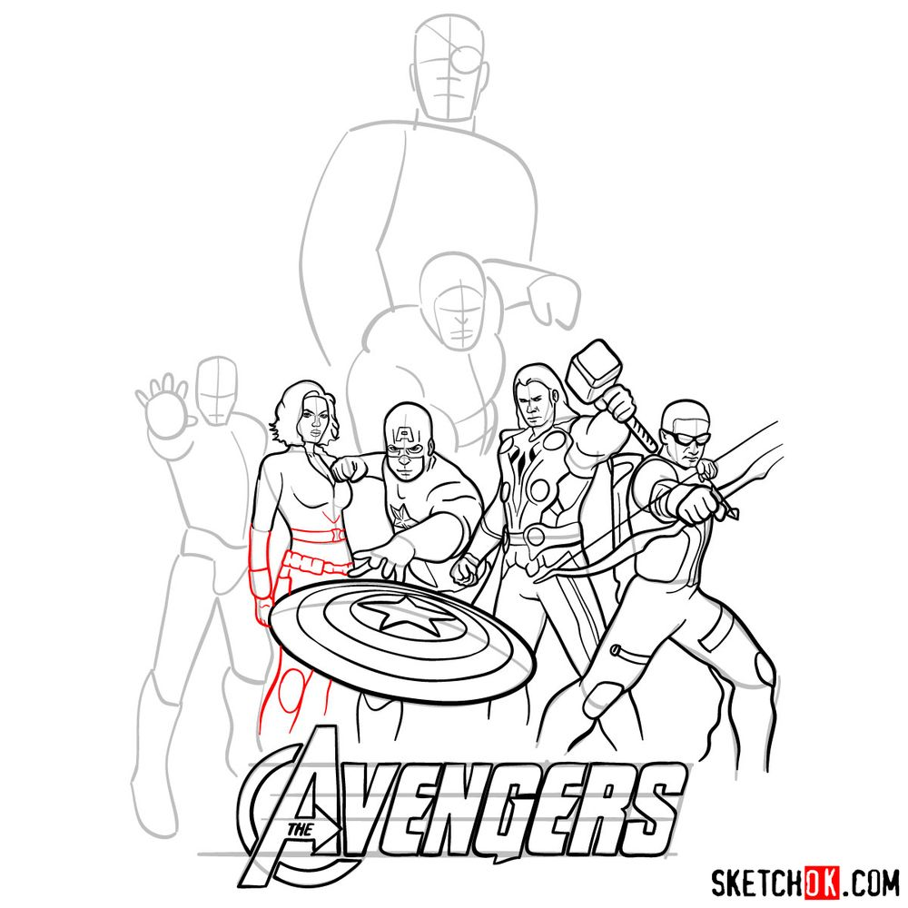 How to draw The Avengers (new) - step 25