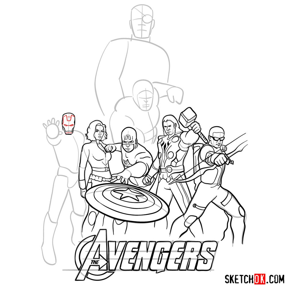 How to draw The Avengers (new) - step 27