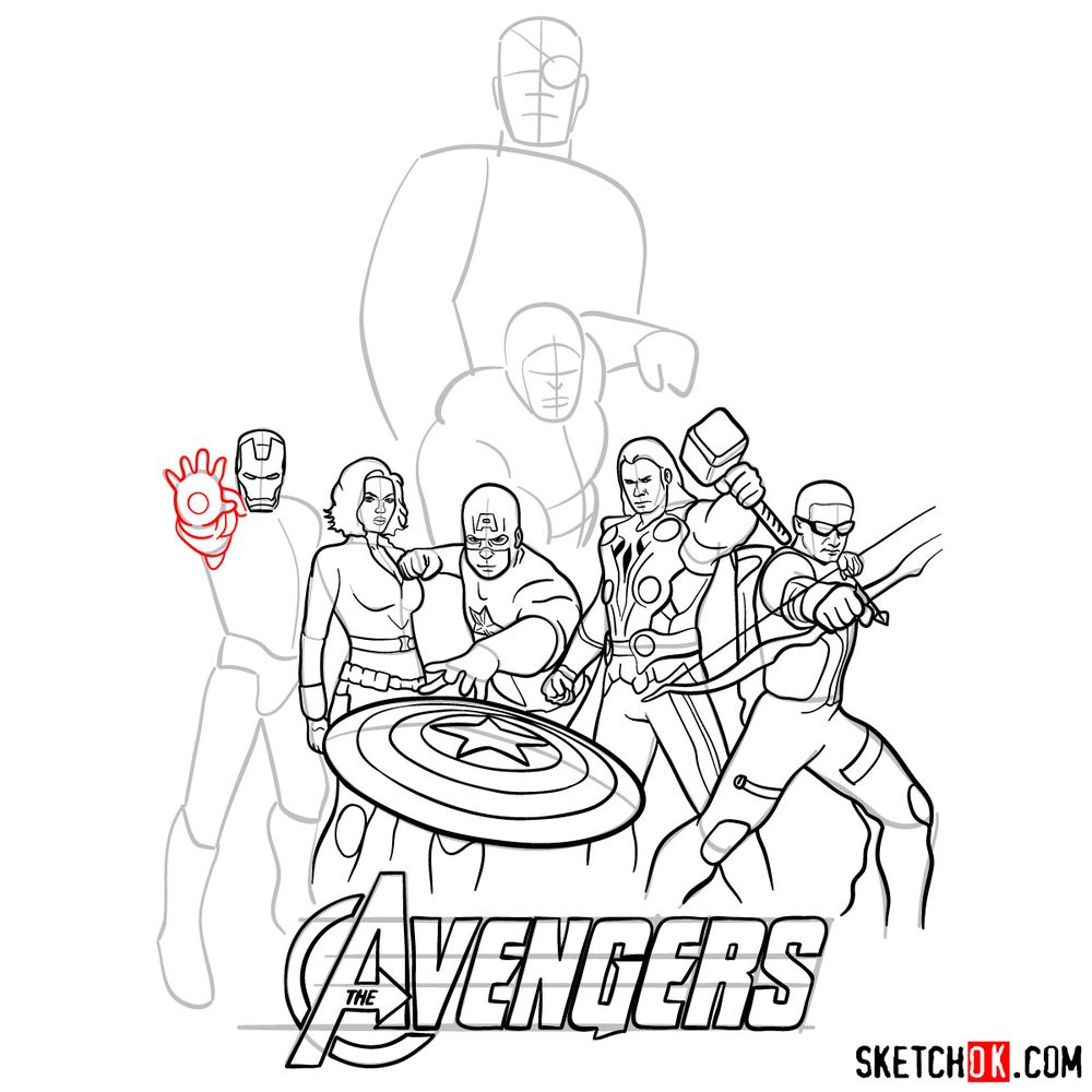 How to draw The Avengers (new) - step 28