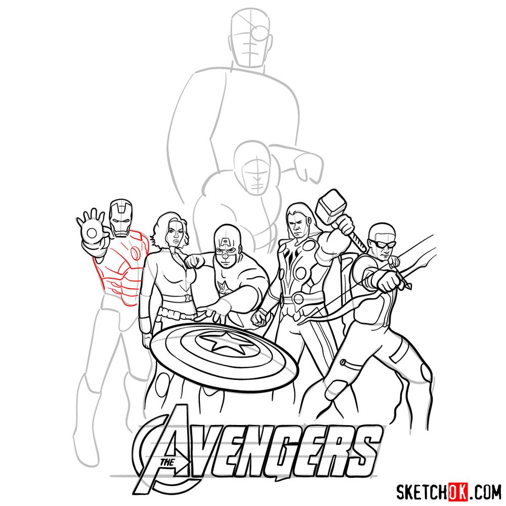 How to draw The Avengers (new) - step 29