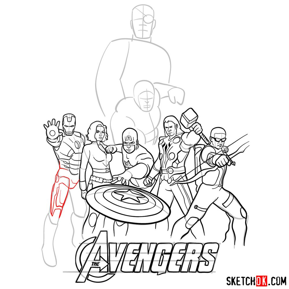 How to draw The Avengers (new) - step 30