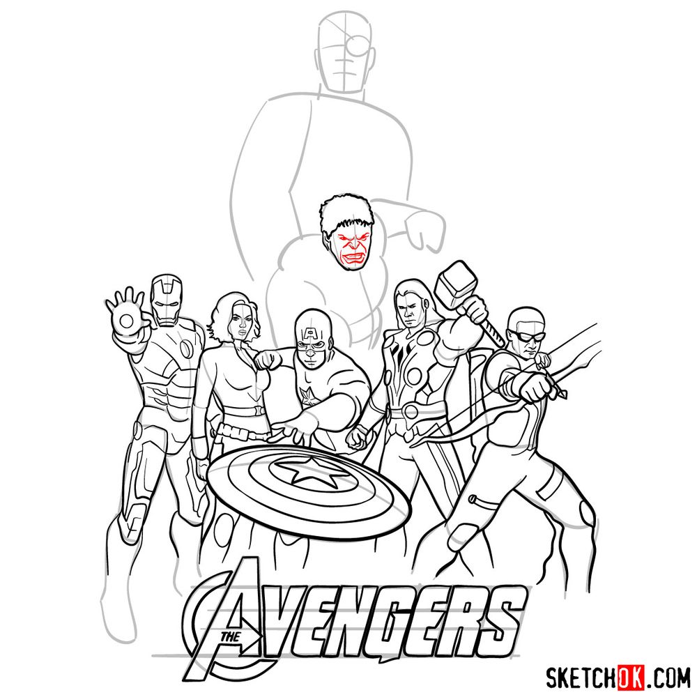How to draw The Avengers (new) - step 33