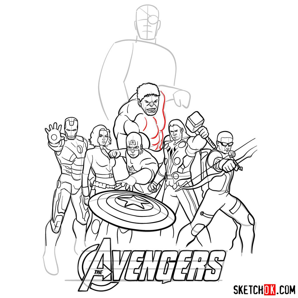 How to draw The Avengers (new) - step 35