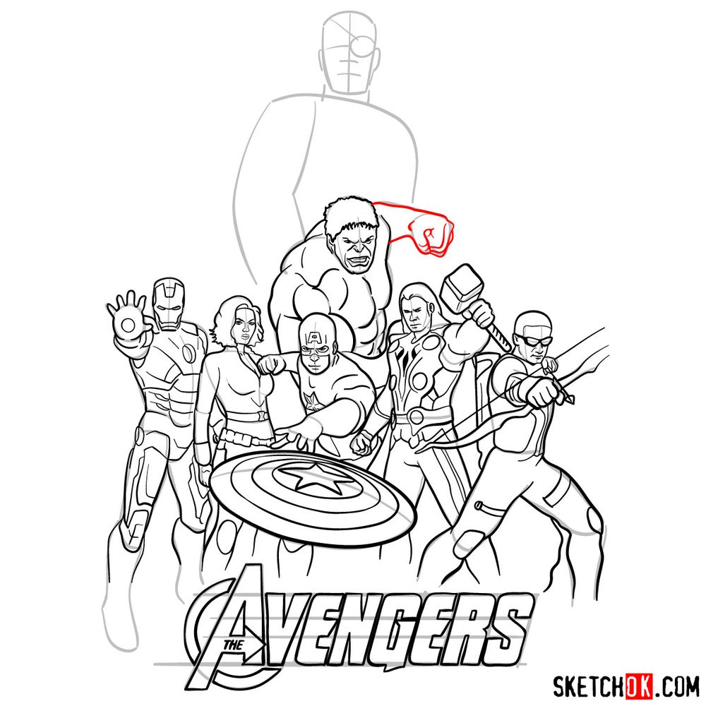 How to draw The Avengers (new) - step 36