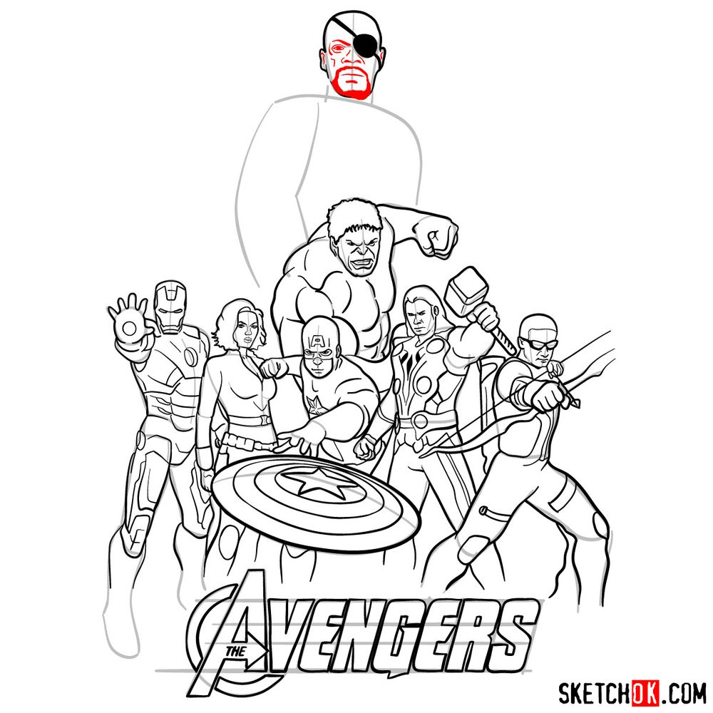 How to draw The Avengers (new) - step 38