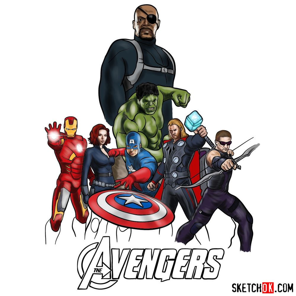 How to draw The Avengers (new) - coloring Nick Fury