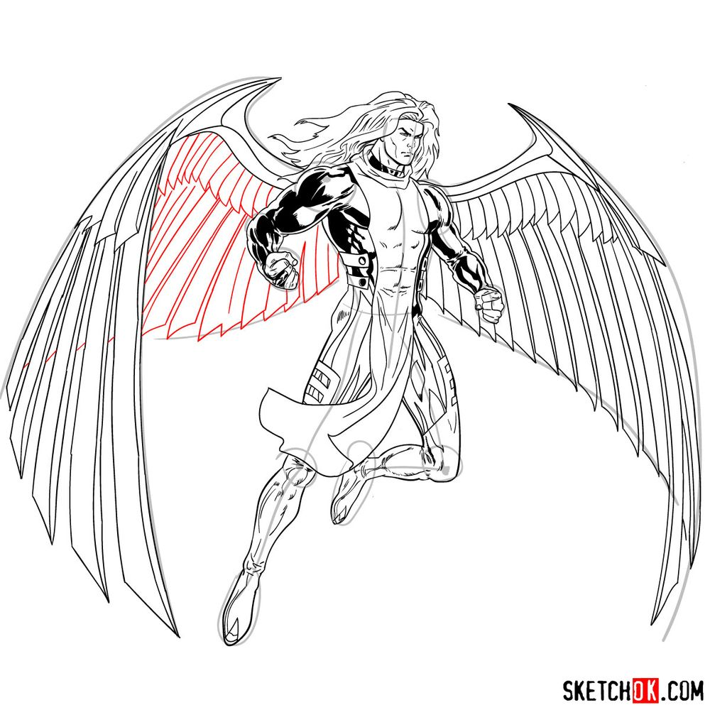 How to draw Archangel | Marvel - step 28