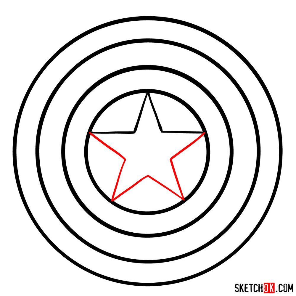 How to draw Captain America's shield - step 05