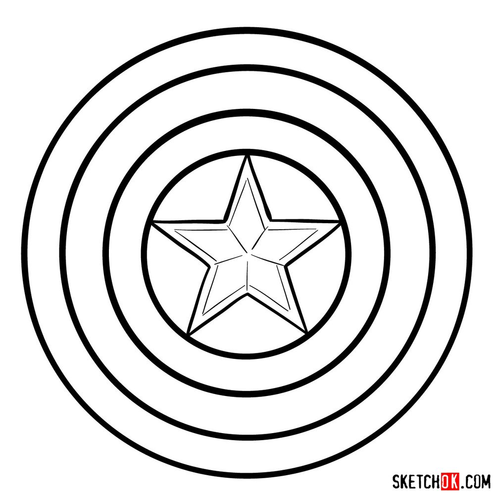 How to draw Captain America's shield - step 07