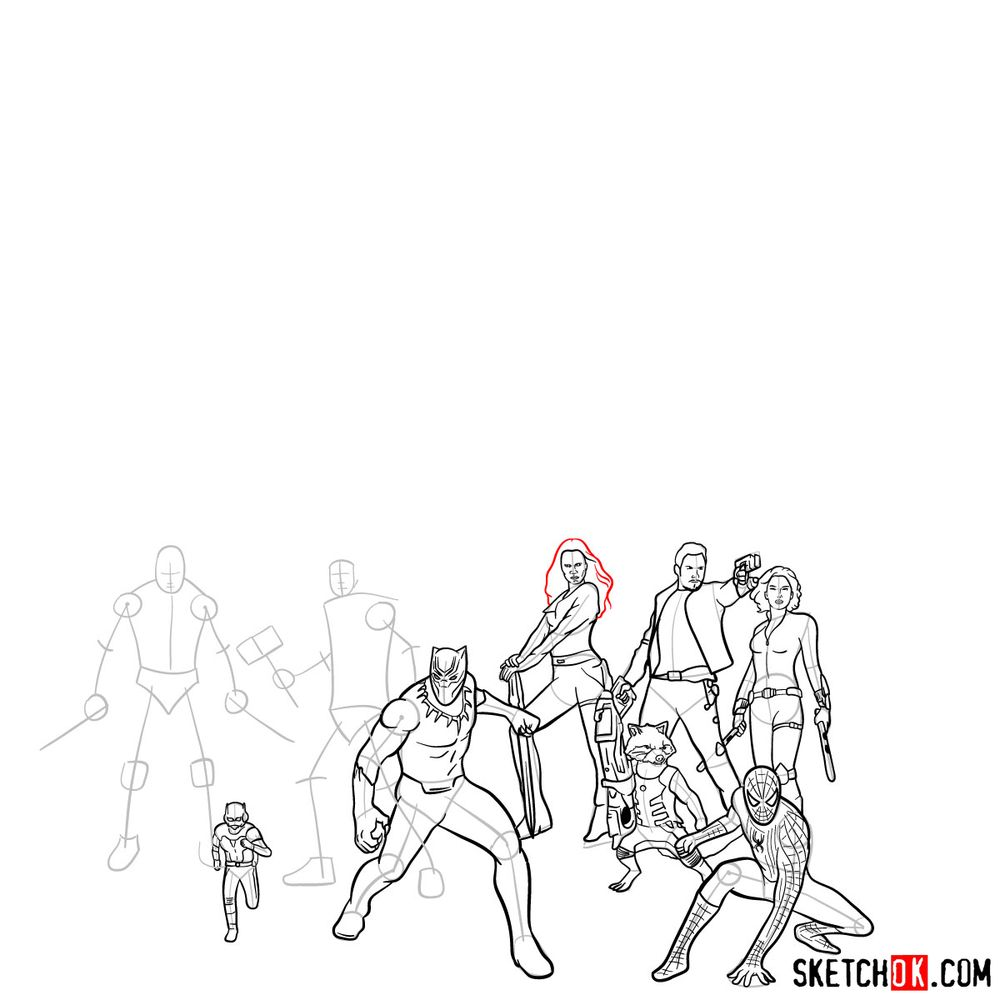 How to draw the Avengers (Infinity War) - step 24